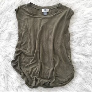 Olive Green Cropped Loose Tank EUC